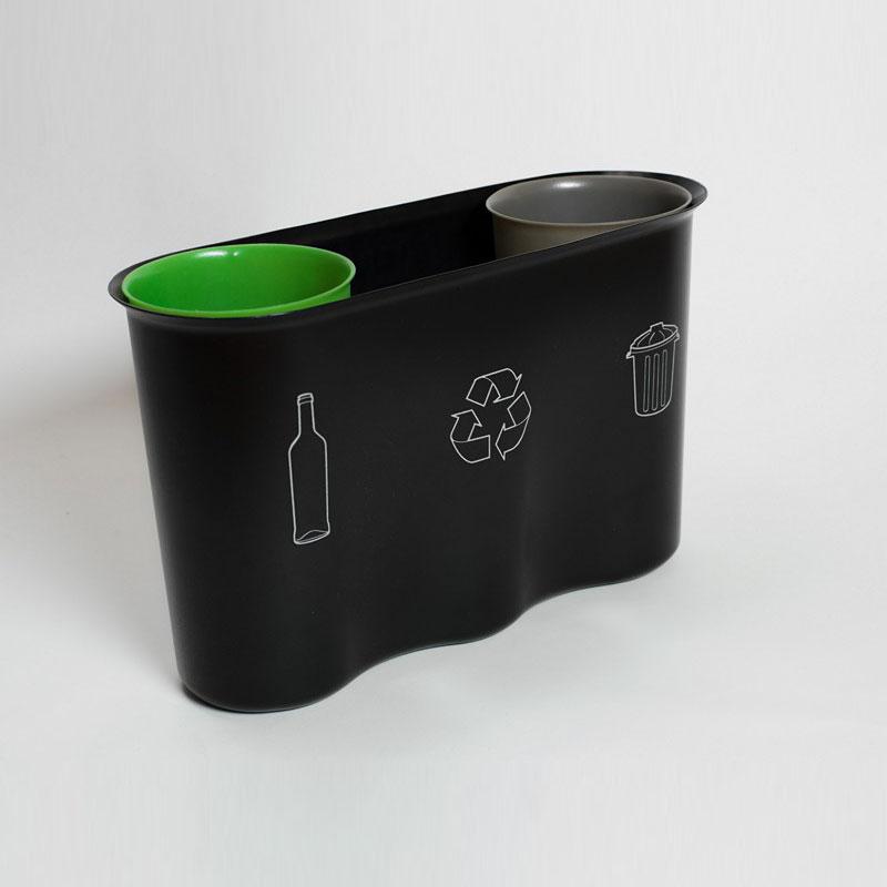 Collecte de déchets au bureau, 3 bacs