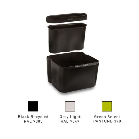 Poubelle 2 bacs pour bureau d'entreprise, par Selectibox