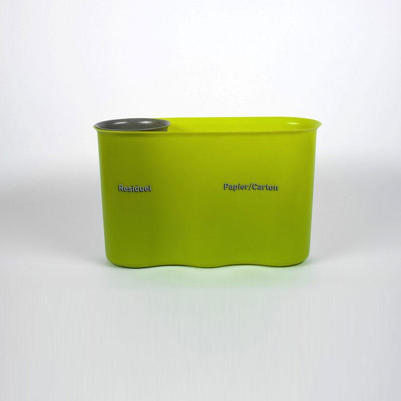 Poubelle 2 bacs Selectibox, residuel et papier carton
