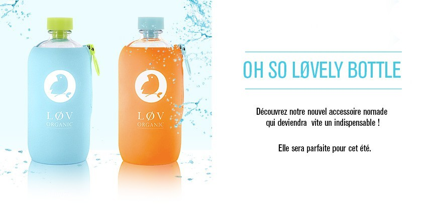 lovely bottle co brandée pour lov organic, par my eco design